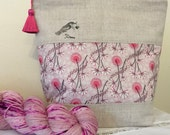 Liberty of London 'Love Bird' project bag with silk tassel ..... Pink Flowers