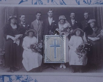 Beautiful - Rare - Antique - Bible style - English Silver Locket - c1930s