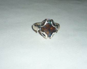 3.95ct. Australian Boulder Opal Ring Oxidized Sterling Silver .925