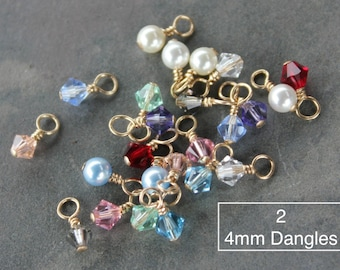 2 (Two) CLOSED LOOP 4mm Swarovski crystal bicone or round pearl dangles on 14k gold filled head pins - birthstone colors & more - jewelry