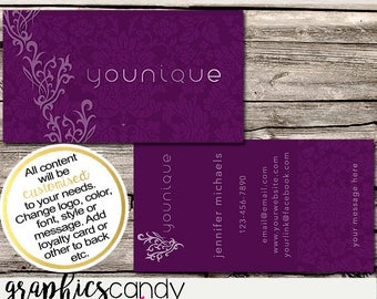 Younique Independent Consultant Business Card Design - Business Cards - Multi Level Marketing - MLM - Free Shipping USA ONLY!