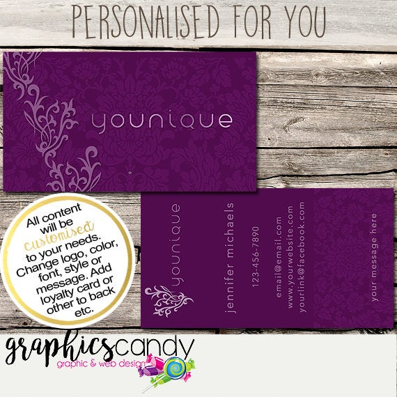 Younique independent consultant business card design business il570xn reheart Gallery