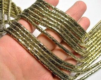Hematite gold - 1mmX 4mm hexagon heishi slice  beads - full strand - 380 beads - AA quality - PHG265