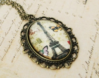 French Vintage Paris Eiffel Tower Necklace, Oval Paris Eiffel Tower PendantNecklace, Eiffel Tower with Butterfly Necklace