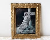 Antique Rock of Ages Lithograph Print by Grit Publishing 1903 in Ornate Gold Gesso Plaster on Wood Frame, Vintage Religious Art Woman Cross
