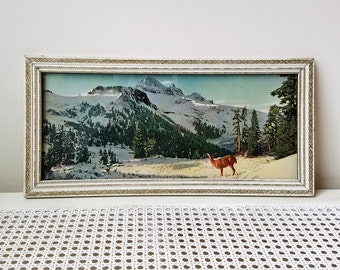 Vintage Landscape Panoramic Wall Art Print in Carved Wood Picture Frame, Deer Winter Mountains Snow Trees, Rustic Cabin Woodlands