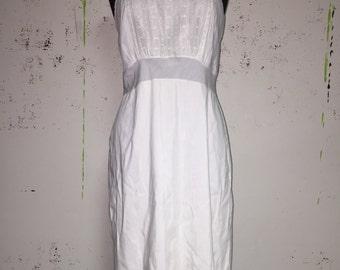 Vintage 70s white cotton slip dress, small