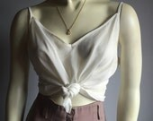 L sheer ivory spaghetti strap early 90s minimalist slip tank top 1990s see through cream blouse cropped large womens v neck adjustable strap