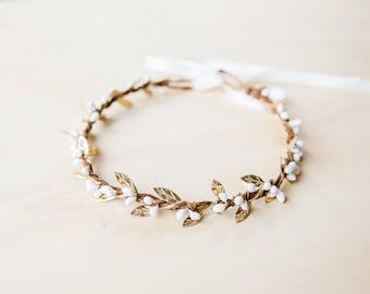 white & glittering gold berry leaf hair wreath // gold flower crown / gold leaf crown / white gold beach wedding flower crown / metallic