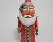 Paper Mache Santa - Folk Art Santa - Primitive Santa - Santa Sculpture - Jointed Santa