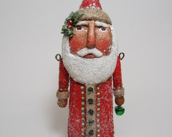 Paper Mache Santa - Folk Art Santa - Primitive Santa - Santa Sculpture - Jointed Santa