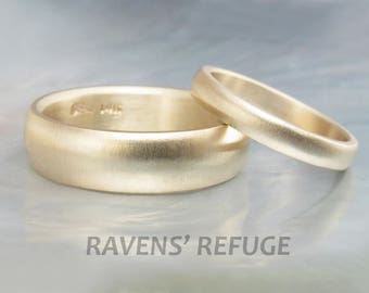traditional gold wedding ring set -- simple matching low dome wedding bands