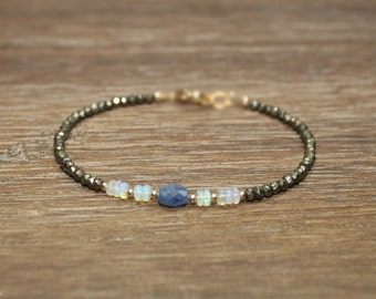 Blue Sapphire, Opal and Pyrite Bracelet, Pyrite Jewelry, October and September Birthstone, Gemstone Bracelet