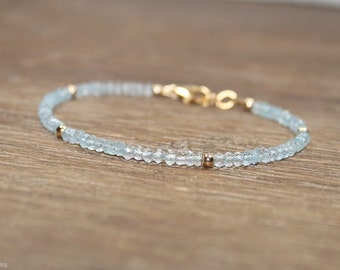 Aquamarine Bracelet, Gold Filled or Sterling Silver Beads, March Birthstone, Aquamarine Jewelry, Gemstone Bracelet