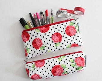 pencil pouch -- dotties roses