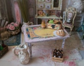 Miniature Table Cottage Shabby Chic Pink Antique Style Top 1:12 Dollhouse Scale, Beach Worn, Wood Handmade in USA Garden Kitchen Shop