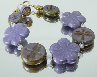 Dragonflies, Flowers and Swallows Beaded Purple Bracelet with Czech Glass and Gold Filled Clasp