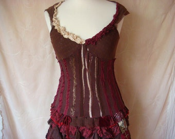 dolce vita - a fancy shabby chic ragdoll dress in brown and burgundy