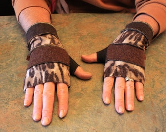 One of a kind ladies upcycled fingerless gloves