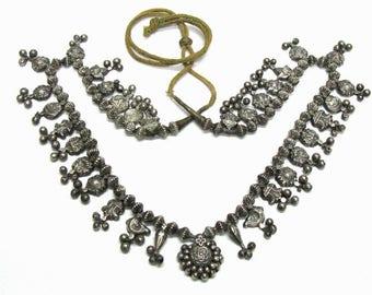 Antique Indian Necklace, Kolhapuri Saj (Saaz), Maharashtra, 32 Pendants, Marriage Lotus, Vashnavite Symbols, High Grade Silver, 51.5 Grams