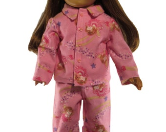 Pink fairy print flannel pajamas fits 18 inch dolls like american girl