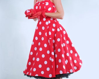 Red and white Polka Dot Rockabilly Pin Up flared Dress
