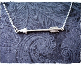 Silver Sideways Arrow Necklace - Sterling Silver Sideways Arrow Charm on a Delicate Sterling Silver Cable Chain or Charm Only