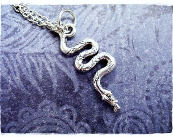 Silver Snake Necklace - Silver Pewter Snake Charm on a Delicate Silver Plated Cable Chain or Charm Only