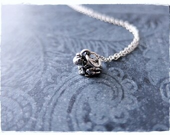 Tiny Toad Necklace - Sterling Silver Toad Charm on a Delicate Sterling Silver Cable Chain or Charm Only