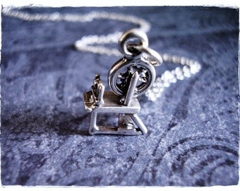 Silver Spinning Wheel Necklace - Sterling Silver Spinning Wheel Charm on a Delicate Sterling Silver Cable Chain or Charm Only