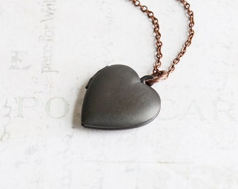Rustic Oxidized Black Heart Locket Pendant Necklace on Antiqued Copper Plated Chain, Hand Patina