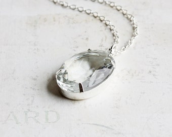 Clear Necklace, Large Rhinestone Necklace, Clear Oval Glass Pendant on Silver Plated Chain, Retro Style Jewelry