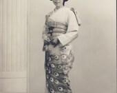 Beautiful JAPANESE WOMAN In Traditional Kimono and Geta Photo Circa 1940s