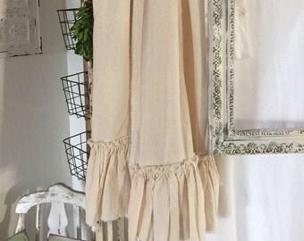Set of Two | Natural Ruffled Tea Towels | Cotton Ruffles | Tea Towels | Farmhouse Towels | Shabbychic Decor | Cottage Home