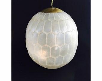 Mid Century Capiz Shell Pendant Lamp / Hanging Lamp