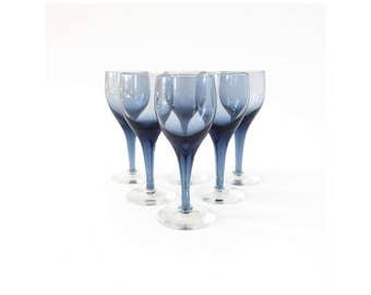Mid Century Blue Wine Glasses / Set of 6