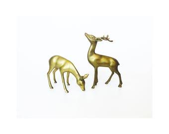 Pair of Vintage Brass Deer / Buck and Doe