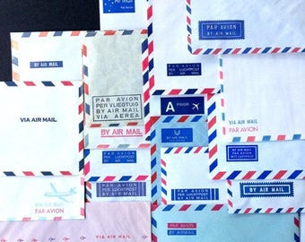 Fabulous instant collection of vintage Air Mail envelopes. Ooak supply set for snail mail writers, mail art addicts and paper collages fans