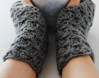 Grey fingerless gloves, crocheted, handmade, ready to ship