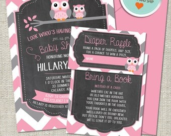 Owl Baby Shower Invitation, Owl Invitation, Owl, Pink, Gray, Chevron, Branch | Printed