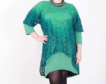 Felted teal blouse plus size wool silk scarf handmade felt open work Regina Doseth designer piece