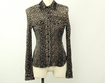 Vintage 90s cheetah print button down blouse textured animal print top taupe and black stretchy size small womens small top