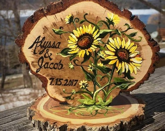 Rustic Sunflowers Wedding Cake Topper, Custom colors, hand painted and personalized!