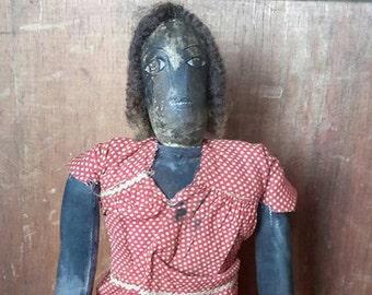Prims magazine black folkart doll, african american folkart doll, primitive doll grungy doll early american doll free shipping