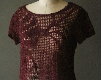 Vintage 90's Burgundy Cropped Knit Blouse by La Belle Fashions Inc., size M