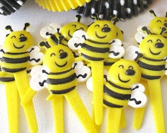 NEW DISCOUNT PRICE Bumble Bee Cupcake Picks - Toppers. Set of 12 Picks. Birthday Party, Baby Shower, Picnic, Cupcake Liners Toppers Picks