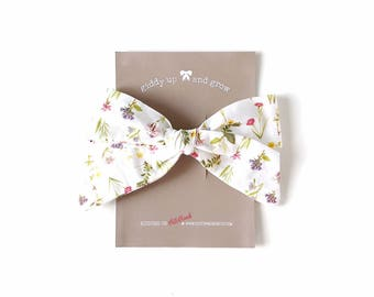 Oversize Summer Bow French Barrette in Wildflower Print, Schoolgirl Bow, giddyupandgrow