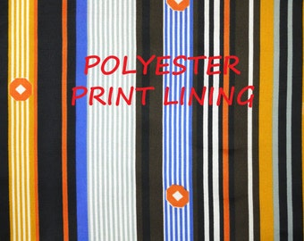 1 YARD, Brown Blue Orange Striped Print, Lining or Fashion Fabric, Gray White, Circles, Lightweight Polyester, B22