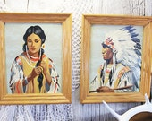 Paint by Number Indian Chief and Squaw, Painting of Native Americans, Vintage Paint by Numbers