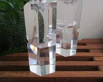Modernist Abstract Lucite Candle Holders - A Pair Ritts Candle holder set